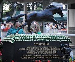 The Secretariat statue at Belmont Park is modeled after Secretariat's leaping stride during the Preakness.[66]