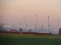 Essar Energy's Stanlow Refinery, the  UK's second largest refinery after Fawley, looking north-east from Wervin