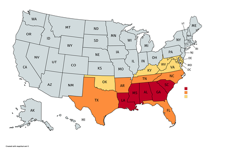Approximate geographic definition of the Deep South and the greater Southern United States. The Deep South is consistently thought to include most or all of the states shown in red and extend into portions of those in orange. While the Census Bureau considers those in yellow to be part of the South, they are not typically attached to the Deep South geographic label.