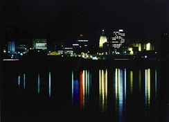 Downtown Topeka skyline at night from the Kansas River (2005)