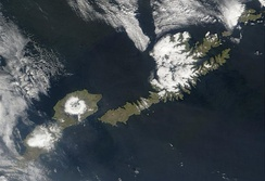 Satellite shot of the islands of Umnak (left) and Unalaska (right).