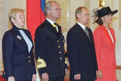 The King and Queen of Sweden welcomed at the Kremlin by Russian President Vladimir Putin and his wife Lyudmila at the start of the King's State Visit to Russia, 8 October 2001.