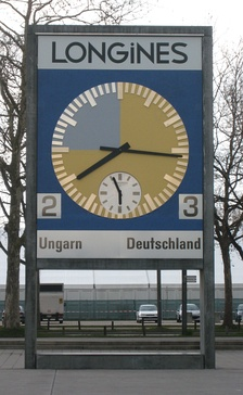 The restored match clock has been installed in front of the Stade de Suisse as a memorial.