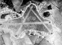 RAF Welford, May 1944. The CG-4 Gliders and C-47s of the 435th Troop Carrier Group trying to find room with the aircraft being parked wherever space can be found, one month before the D-Day invasion of France.