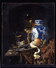 Still Life with a Chinese Porcelain Jar, by Dutch Golden Age painter Willem Kalf (c. 1660s). 17th-century Chinese export porcelain wares (imported by the VOC) are often depicted in many Dutch Golden Age genre and still-life paintings.