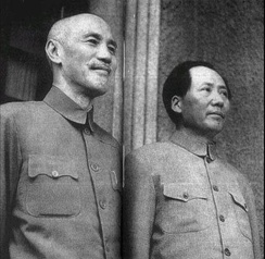 Chiang Kai-shek and Mao Zedong met in Chongqing in 1945.