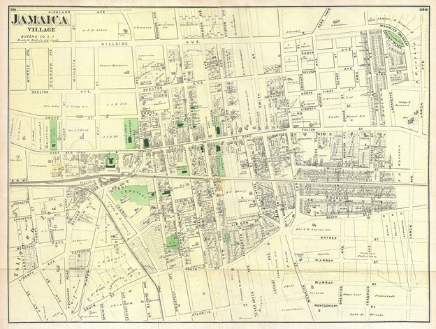 1873 Beers map of Jamaica Village, Queens, New York City