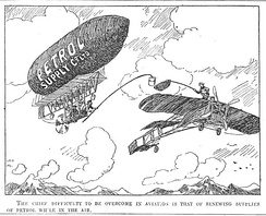 """The chief difficulty to be overcome in aviation is that of renewing supplies of petrol while in the air"" (Punch 20 October 1909, p. 288)"
