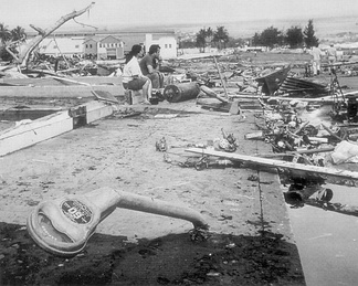 Aftermath of the 1960 Chilean tsunami in Hilo, Hawaiʻi, where the tsunami left 61 people dead and 282 seriously injured. The waves reached 35 feet (11 m) high.