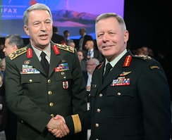 Vance (right) and Hulusi Akar (left), Chief of the Defense Staff of the Turkish Armed Forces, at the Halifax International Security Forum in 2017