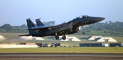 A 492 FS F-15E of the 48th Fighter Wing taking off from RAF Lakenheath