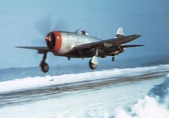 313th Fighter Squadron P-47 Thunderbolt landing at Toul/Ochey Airfield[note 5]