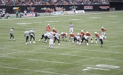 Dave Dickenson calls out a play at the line of scrimmage in a game against the Saskatchewan Roughriders at BC Place in 2005.