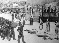 A sketch of the Petrashevsky Circle mock execution