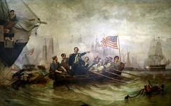 Battle of Lake Erie (1865) by William H. Powell depicts US Navy commander Oliver Hazard Perry