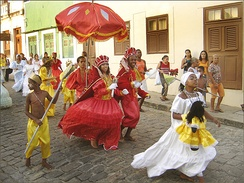 The Maracatu, a cultural aspect resulted from the mix between Amerindians, Portuguese and Africans in Northeast Brazil.