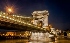 The most famous Budapest bridge, the Chain Bridge, the icon of the city's 19th century development, built in 1849