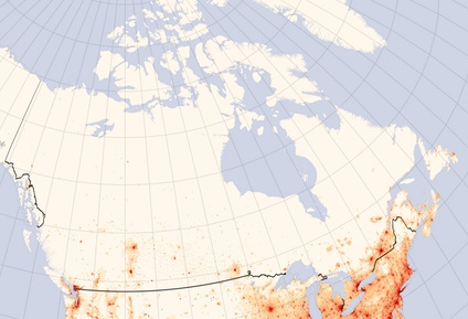 Canada population density map also showing northern United States