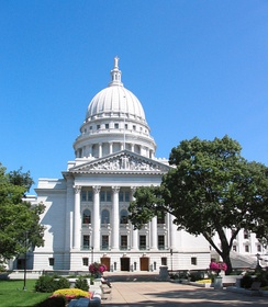 The Wisconsin State Capitol is located on the isthmus between Lake Mendota and Lake Monona in the city of Madison.