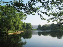 The Cleveland Museum of Art lies at the edge of Wade Lagoon in University Circle.