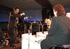 David Baker, a music educator, composer and conductor, (far left) leads the Smithsonian Jazz Masterworks Orchestra during the NEA Jazz Masters awards ceremony and concert in 2008.