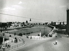 The main river running through the center of Skopje c. 1950