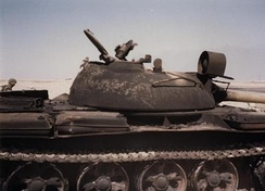 An Iraqi Republican Guard tank destroyed by Task Force 1–41 Infantry during the 1st Gulf War, February 1991