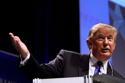 Trump speaking at the Conservative Political Action Conference in February 2011