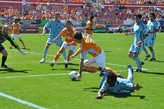 The Rapids (in pale blue) in action against Houston Dynamo in 2009