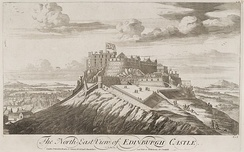 "Engraving of a castle on top of a steep hill, above the title ""The North East View of Edinburgh Castle"". On the castle flies a large Union Flag with Scottish saltire part of flag most visible."