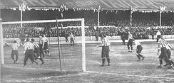 Sandy Brown (unseen) scoring the third goal for Tottenham Hotspur in the 1901 FA Cup Final replay against Sheffield United