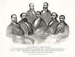 African-American members of the United States Senate and the United States House of Representatives: Sen. Hiram Revels (R-MS) and Reps. Benjamin Turner (R-AL), Robert DeLarge (R-SC), Josiah Walls (R-FL), Jefferson Long (R-GA), Joseph Rainey and Robert B. Elliott (R-SC), 1872