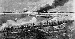 Ships of the North Atlantic Blockading Squadron bombarding Fort Fisher prior to the ground assault, during the American Civil War
