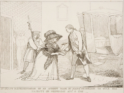 "A depiction of the 1786 assault on George III by Margaret Nicholson. The King took pity on her, shouting out: ""The poor creature is mad, do not hurt her. She has not hurt me.""[90]"