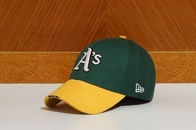 A typical baseball cap; this one is an Oakland Athletics cap.