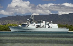 HMCS Calgary of the Royal Canadian Navy departs Pearl Harbor for the at-sea phase of RIMPAC 2014