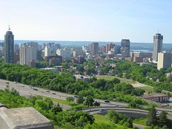 View of Downtown Hamilton from atop the Niagara Escarpment.