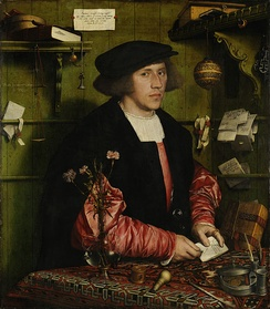 Georg Giese from Danzig, 34-year-old German Hanseatic merchant at the Steelyard, painted in London by Hans Holbein