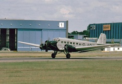 "A Lufthansa Junkers Ju 52/3m (registered D-CDLH), until 1984, known as ""Iron Annie N52JU"", was painted as D-AQUI in historic 1936 Deutsche Luft Hansa colors. D-CDLH has P&W engines, now with three-bladed propellers (ex Caiden)."