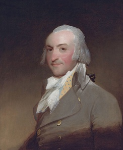 John Jacob Astor, in an oil painting by Gilbert Stuart, 1794, was the first of the Astor family dynasty and the first millionaire in the United States, making his fortune in the fur trade and New York City real estate.
