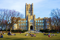 Keating Hall, the architectural centerpiece of Rose Hill,[151] with Edwards Parade in the foreground