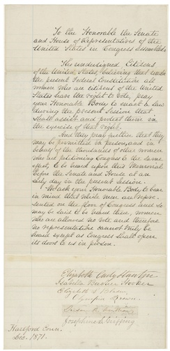Letter by Susan B. Anthony to US Congress in favor of Women's Suffrage