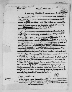 Letter from Thomas Jefferson to Littleton Waller Tazewell, 1825. Library of Congress