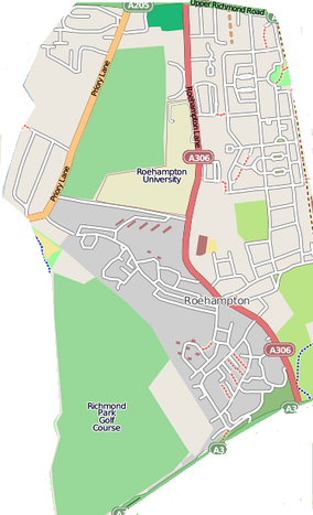 Map of Roehampton, excluding Roehampton/Putney Vale to the south – Click to enlarge