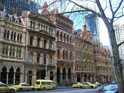 Modern skyscrapers on Collins Street, Melbourne have been deliberately set back from the street in order to retain Victorian-era buildings.