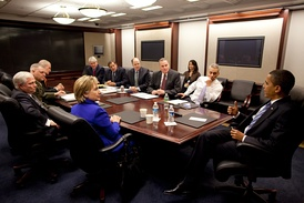 "President Barack Obama at an NSC Meeting in the Situation Room. Participants include Secretary of State Hillary Rodham Clinton, Defense Secretary Robert Gates, NSC Advisor Gen. James ""Jim"" Jones, Director of National Intelligence (DNI) Dennis Blair, Deputy National Security Advisor Tom Donilon, White House Counsel Greg Craig, CIA Director Leon Panetta, Vice Chairman of the Joint Chiefs of Staff Gen. James Cartwright, and White House Chief of Staff Rahm Emanuel"