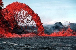 This parabola-shaped lava flow illustrates the application of mathematics in physics—in this case, Galileo's law of falling bodies.