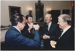 Presidents Nixon, Reagan, Ford, and Carter together in the White House in 1981