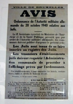 French language poster detailing the Anti-Jewish laws enacted in Belgium on 28 October 1940.