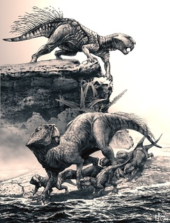 Пситтакозавры с детёнышами